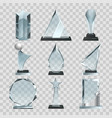 crystal glass trophy or awards on transparent vector image vector image