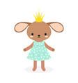 cute princess rabbit in crown vector image vector image