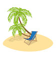 deck chair palm vector image vector image