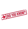 Did you know stamp vector image vector image