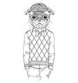 dressed up pug doggy hipster style vector image vector image