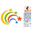 Festival Fireworks Icon With 2017 Year Bonus vector image