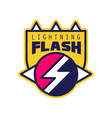 flash lightning logo badge with lightning symbol vector image vector image