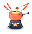 fondue pot with assorted delicious traditional vector image vector image