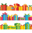 gift seamless border stack giftbox package set vector image vector image