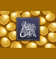 Gold eggs happy easter lettering modern vector image