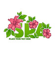 green leaves and pink flower spa lettering vector image