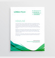 green wavy shape letterhead design template vector image vector image