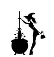 halloween black silhouette of young sexy witch vector image