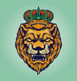 head lion with cannabis crown vector image vector image