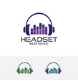 headset beat logo design vector image vector image