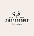human people bulb smart idea hipster vintage logo vector image vector image