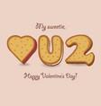 i love you yellow cookies vector image