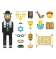 Jew icons set vector image