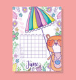 june calendar information with squirrel and plants vector image