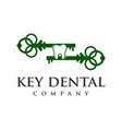 key dental logo vector image vector image