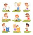 kids planting happy children gardening digging vector image vector image
