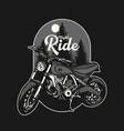 logo design night ride with motorcycle vintage vector image