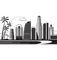los angeles silhouette by day vector image
