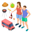 male and female campers and camping accessories vector image vector image