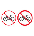 no bicycle line and glyph icon prohibition vector image vector image