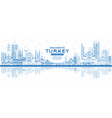 outline welcome to turkey skyline with blue vector image vector image