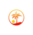 palm tree beach sunset holiday logo vector image vector image