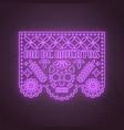 papel picado neon design dia de los muertos - day vector image vector image