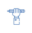 pencil drawing line icon concept pencil drawing vector image