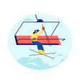 pretty woman skier go up hill on rope funicular vector image