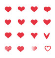 red heart icons set love and romantic concept vector image vector image