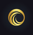 round wave circle water gold logo vector image vector image