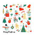 set christmas holiday elements and icons vector image