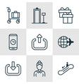 set of 9 transportation icons includes hostess vector image vector image