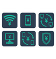 set of icons about online payments with yen or vector image vector image