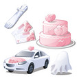 set wedding accessories isolated on white vector image vector image