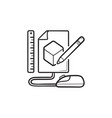 sketch of cube prototyping hand drawn outline vector image