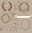 Sketch wreath heart arrow bow in vintage style vector image vector image
