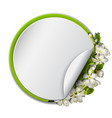 spring round frame with cherry branch blossom vector image vector image