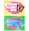 spring sale labels set butterfly ornaments wings vector image