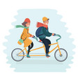 tandem bicycle couple vector image vector image