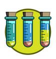 test tube with liquid inside the icon on the vector image