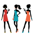 Three chick women vector image