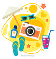 traveling and tourism concept - beach trendy vector image
