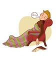 young cartoon boy falling asleep in armchair vector image
