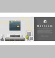 Interior design Modern bedroom background 1 vector image