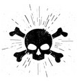 black hand drawn skull and crossbones in vintage s vector image