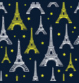 black white and yellow eiffel tower vector image
