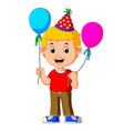 boy holding balloons vector image