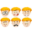 Boy with many facial expressions vector image vector image